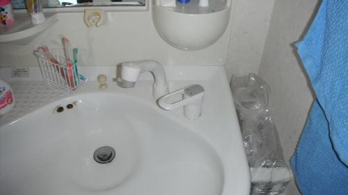 洗面蛇口交換工事完了