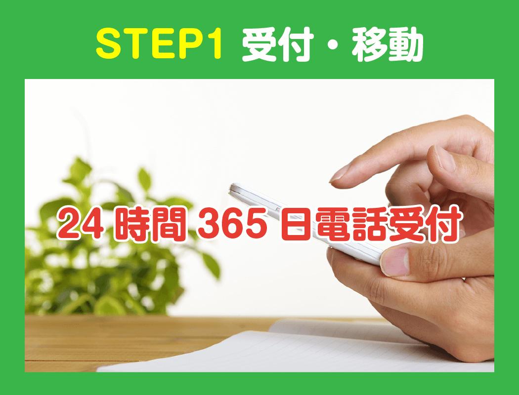 STEP1. 受付・移動(24時間365日電話受付)